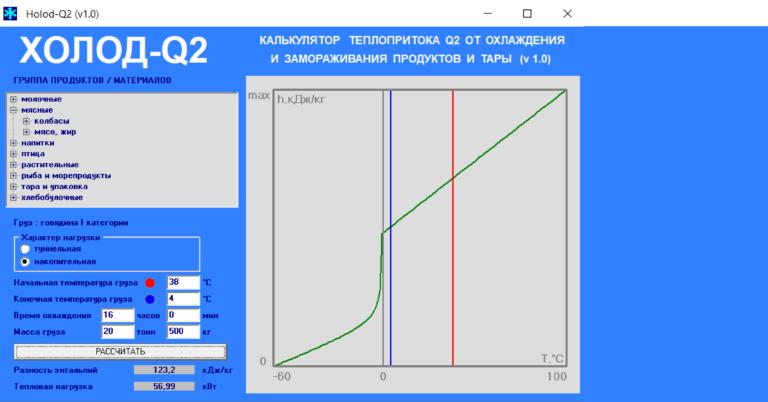 Программа расчета теплопритока Q2 от продуктов и тары